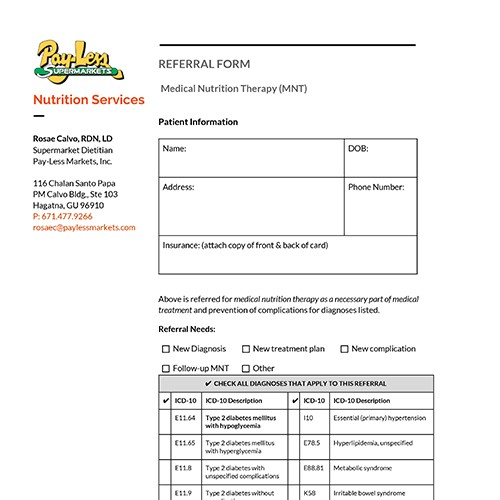 PMI Nutrition Services Referral Form